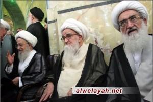 مراجع الدين يستقبلون قائد الثورة الإسلامية في قم