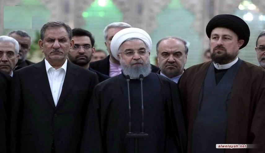 في اليوم الثاني لأسبوع الحكومة: رئيس الجمهورية وأعضاء الحكومة يجددون العهد والميثاق مع مبادئ الإمام الخميني (رض)