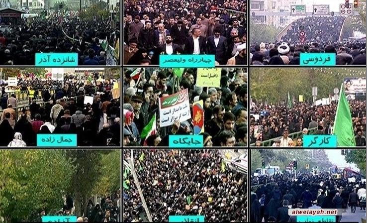 مسيرات حاشدة في طهران تنديدا بأعمال الشغب