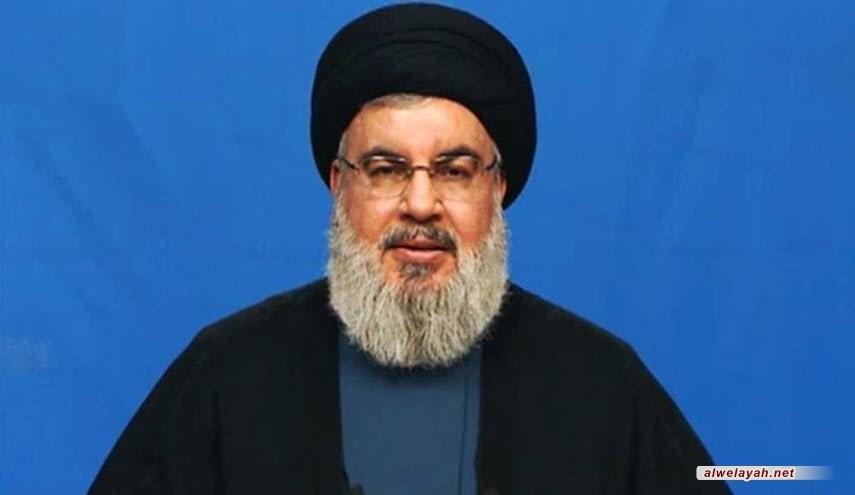 السيد نصر الله: عيناي دمعت عندما رأيت صورة الإمام القائد مع الرئيس بشار الأسد