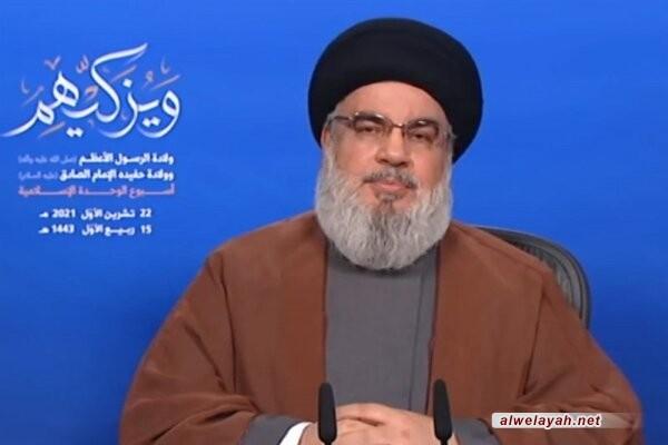 السيد نصر الله: أسبوع الوحدة الإسلامية من بركات الإمام الخميني (قدس) وانتصار الثورة الإسلامية