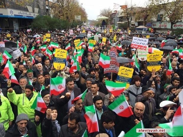 المدن الإيرانية تشهد مسيرات شعبية مؤيدة لنظام الجمهورية الإسلامية