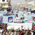 """مئات الآلاف في صنعاء والحديدة يشاركون في مسيرات """"البراءة من الخونة وتمسكا بقضية فلسطين"""""""