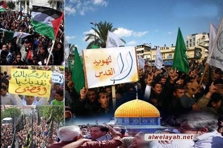في بيان ختامي لمسيرات القدس.. المتظاهرون يطالبون بوقف دعم الكيان الصهيوني