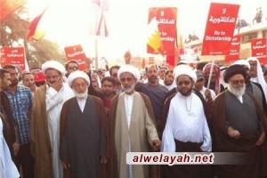 الشيخ قاسم والعلماء يتقدمون مسيرة لبيك يا بحرين