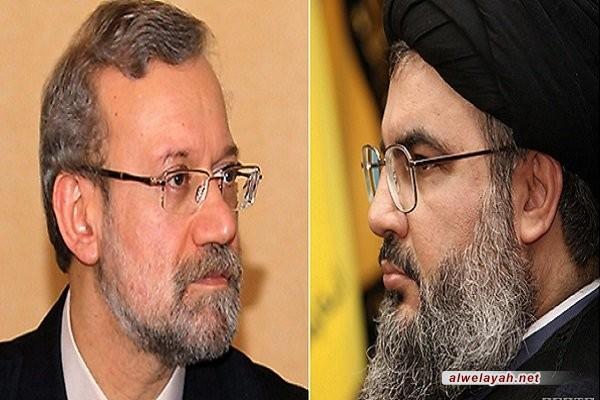 لاريجاني يعزي السيد نصرالله باستشهاد القائد مصطفى بدر الدين