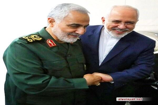 """ظريف يهنئ اللواء سليماني لتقلّده وسام """"ذوالفقار"""" من قائد الثورة"""