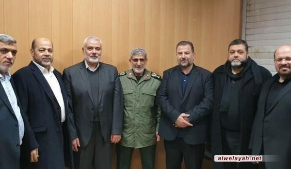"""قائد قوات """"القدس"""" يؤكد لـ """"هنية"""" جاهزية إيران للعمل على إفشال صفقة القرن"""
