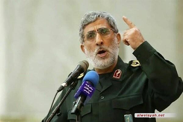 العميد قاآني: ستبقى إيران إلى جانب فصائل المقاومة الفلسطينية