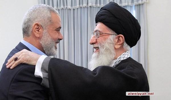 إسماعيل هنية يشيد بمواقف قائد الثورة المساندة للمقاومة الفلسطينية