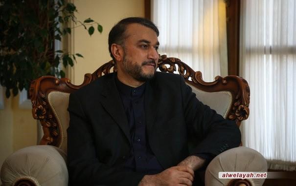 """أمير عبداللهيان: انعقاد قمّة افتراضية دولية """"القدس تجمعنا معاً ضد التطبيع"""" في طهران"""
